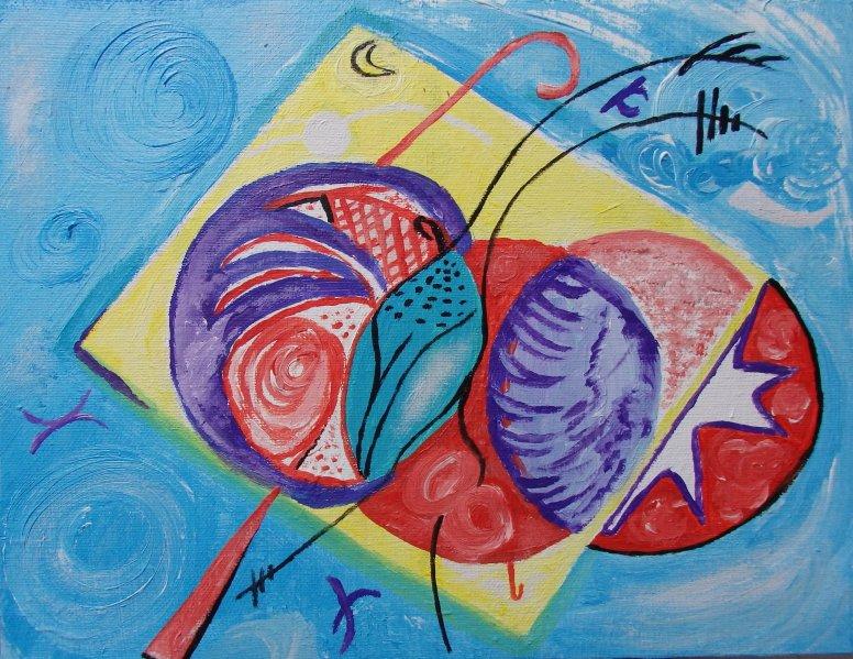 Forma y color sobre azul